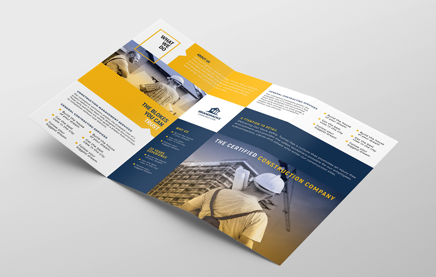 Construction Company Tri-Fold Brochure Template example image 2