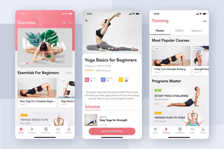 Yoga Fitness App UI Kit example image 3