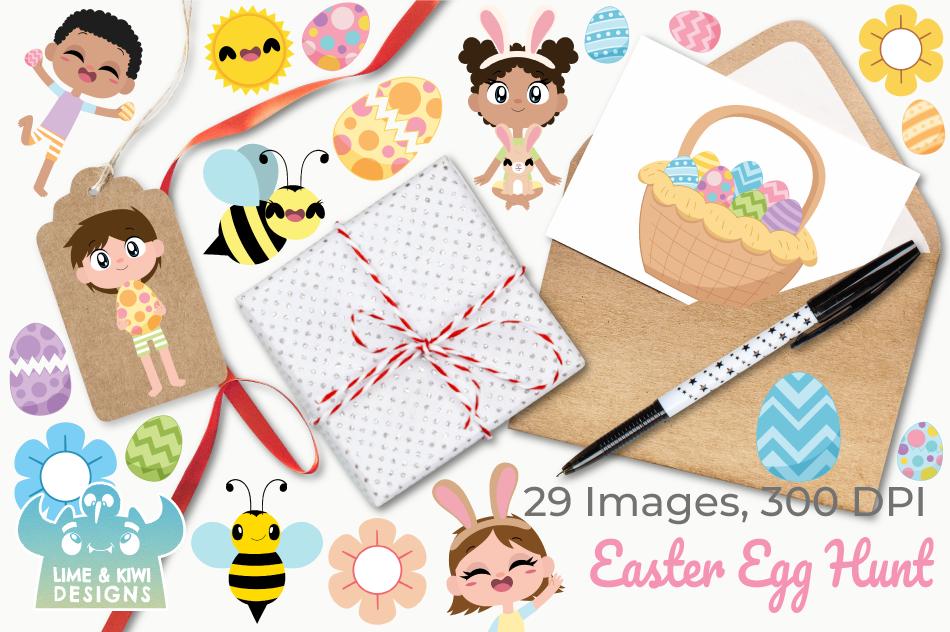 Easter Egg Hunt Clipart, Instant Download Vector Art example image 4