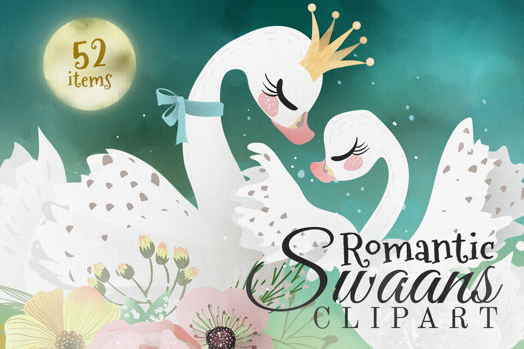 Romantic Swans Clipart example image 1