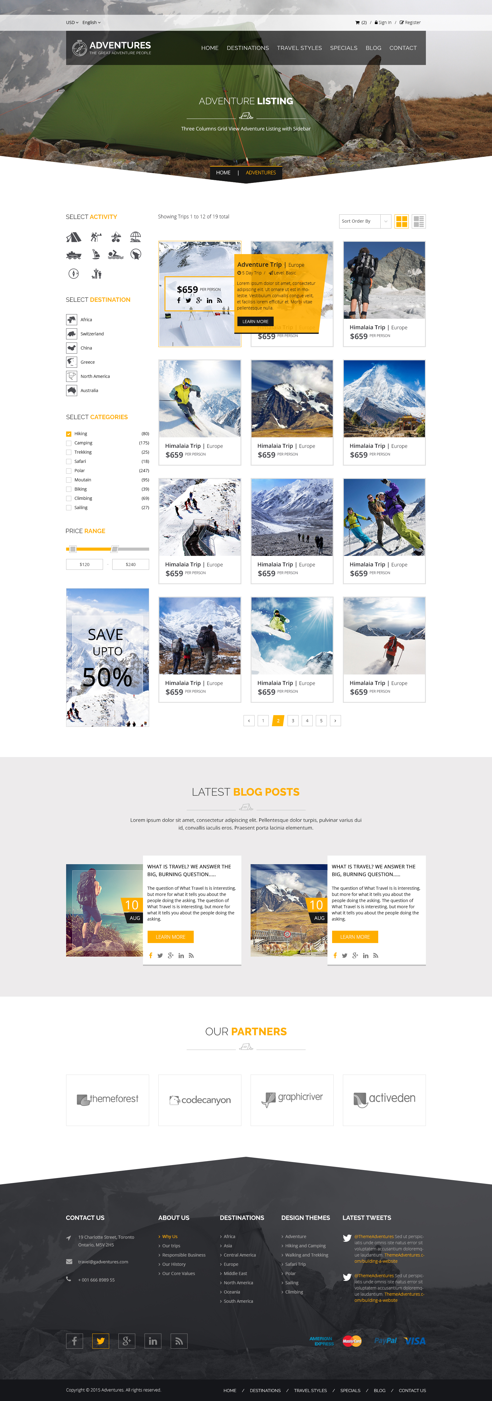 Adventures and Tour PSD Template example image 7