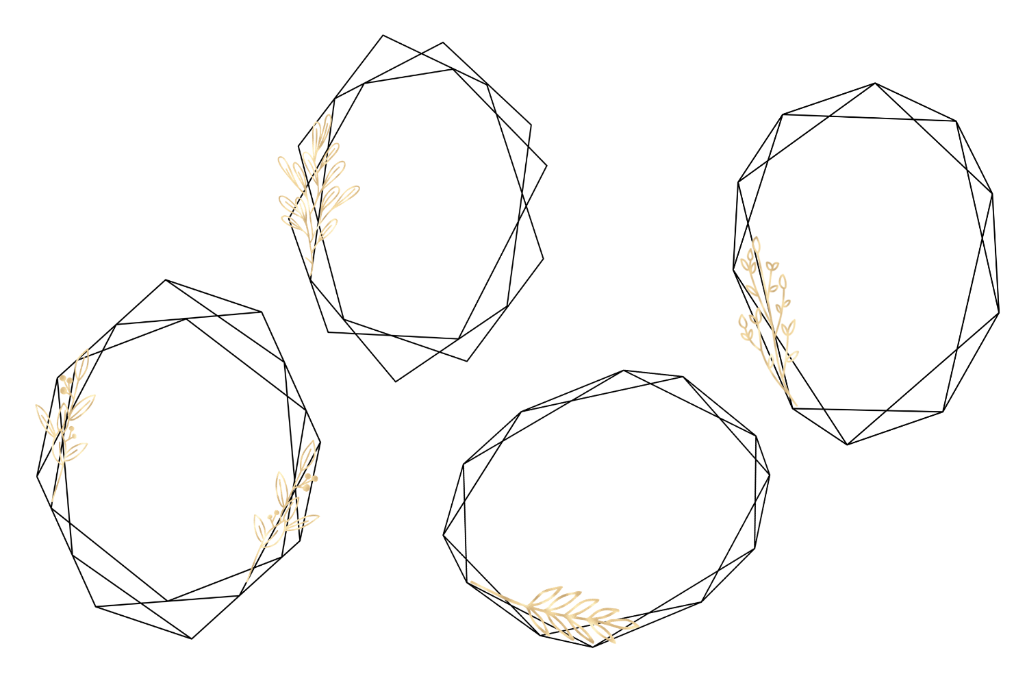 Minimal Geometric Frames, Gold Frames Cliparts example image 4