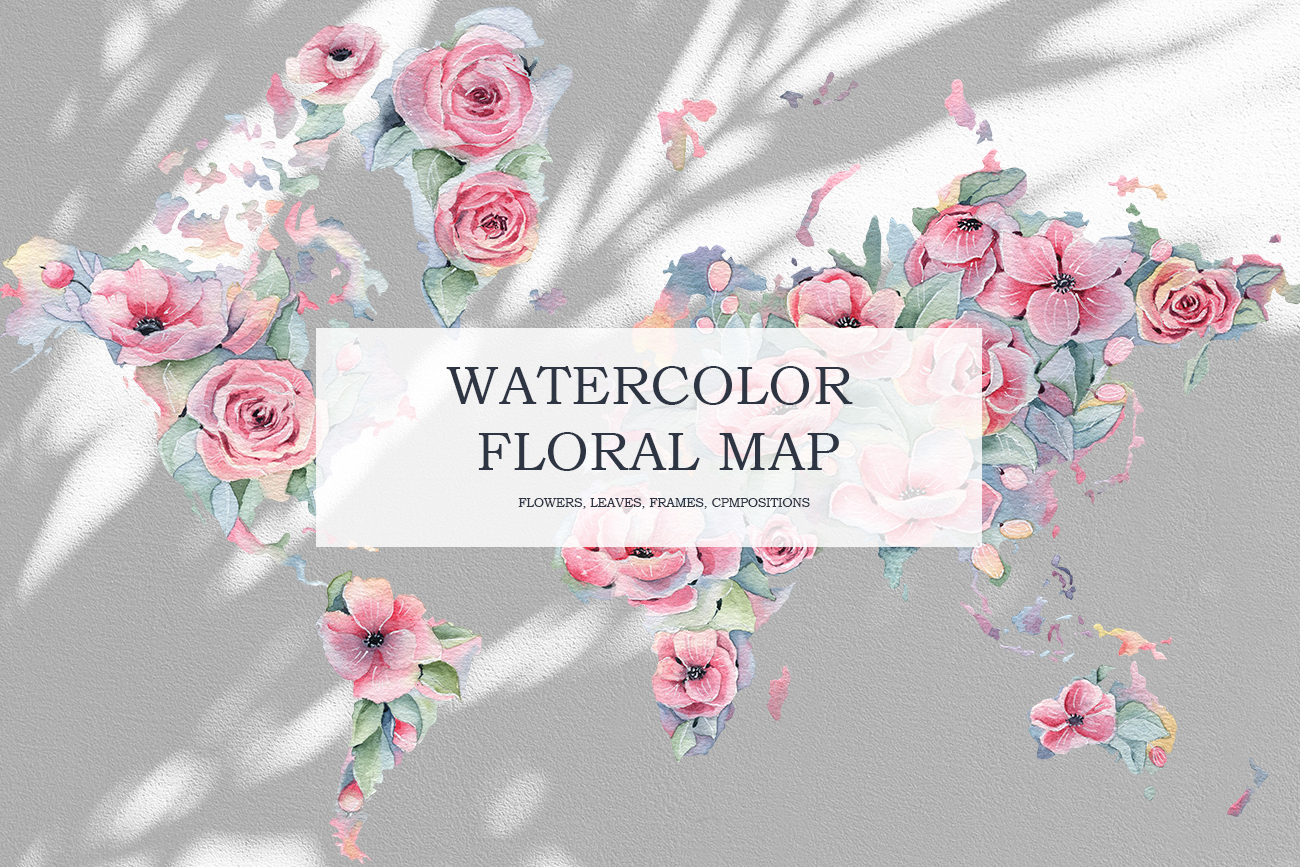 Watercolor Floral map, Spring pink flowers clipart, peony example image 1