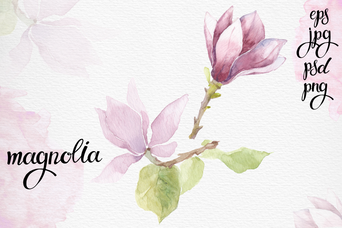 Spring flowers. Watercolor set. example image 3