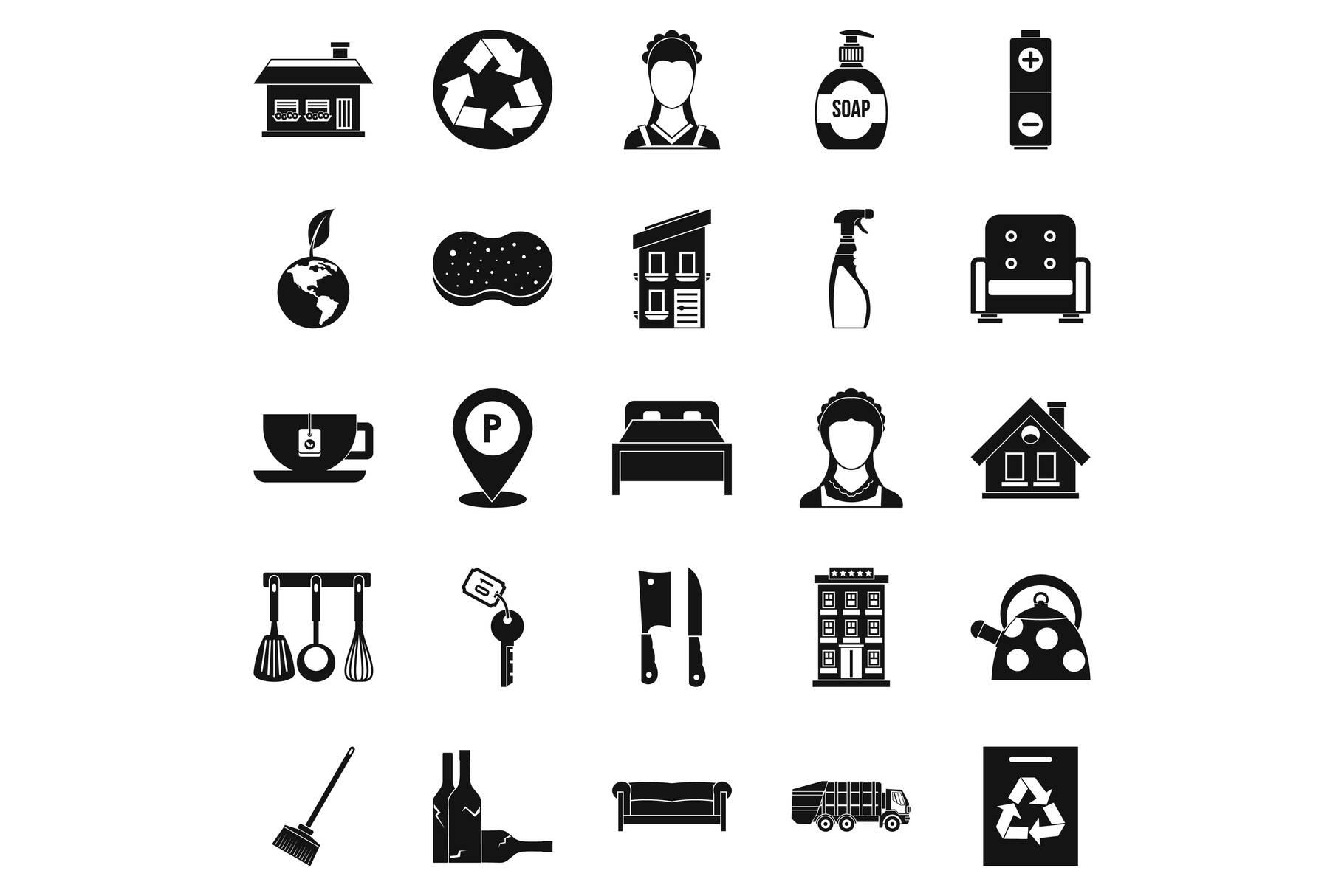 Purification icons set, simple style example image 1