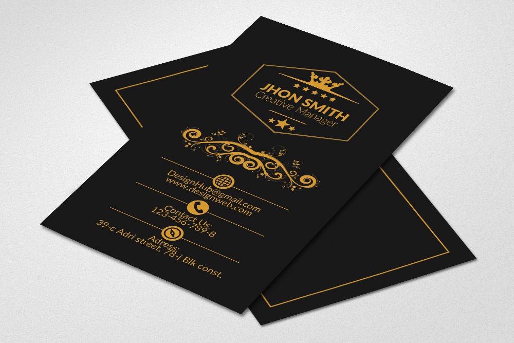 Vertical Black Business Cards example image 1