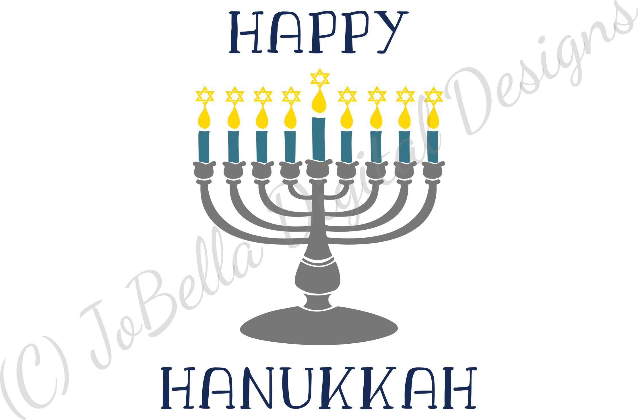 Menorah and Happy Hanukkah SVG, Printable and PNG example image 4