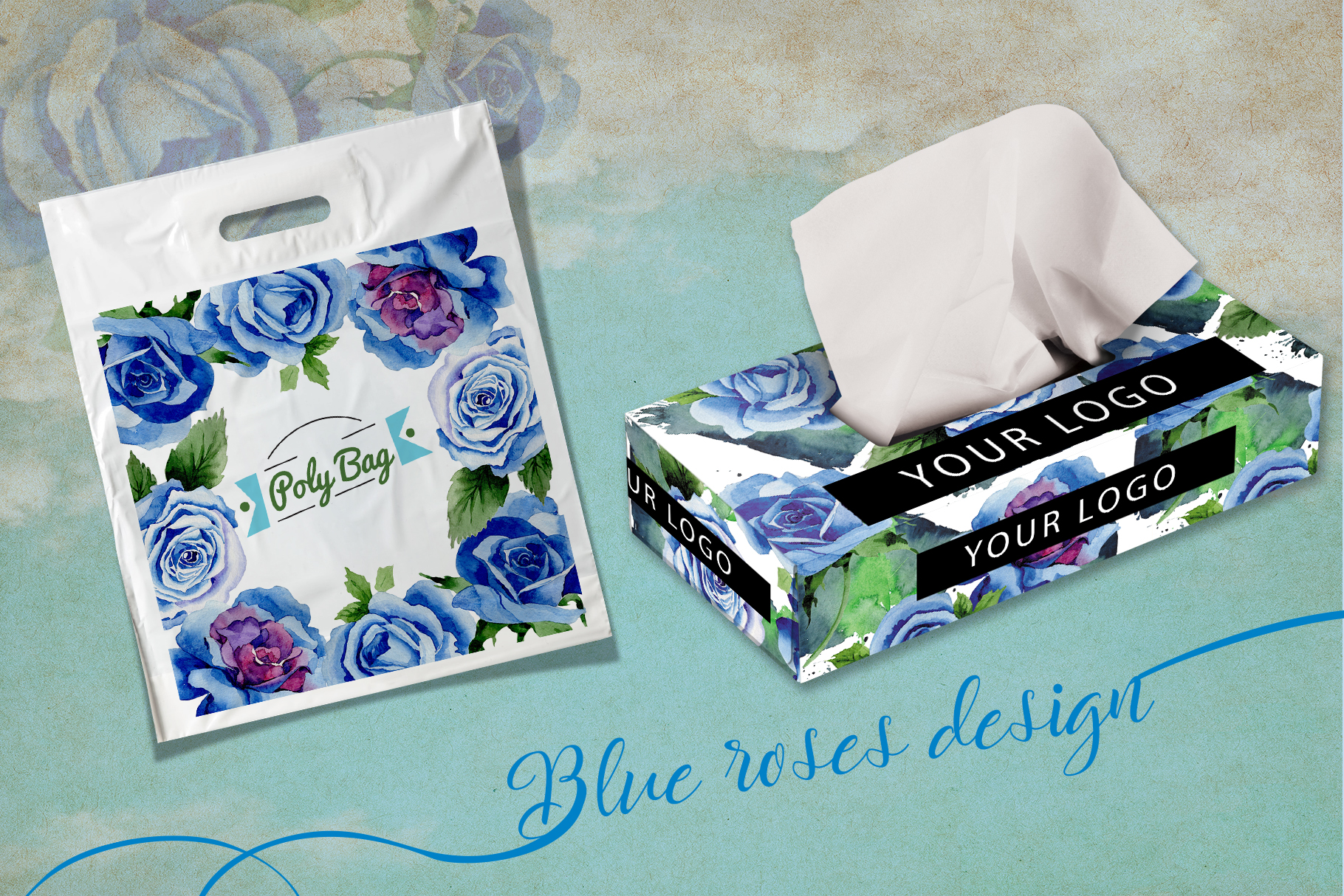 Beautiful blue roses PNG watercolor flower set example image 6