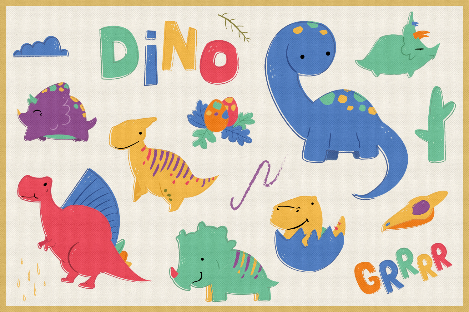 Dino World Vector Cliparts & Seamless Patterns example image 4