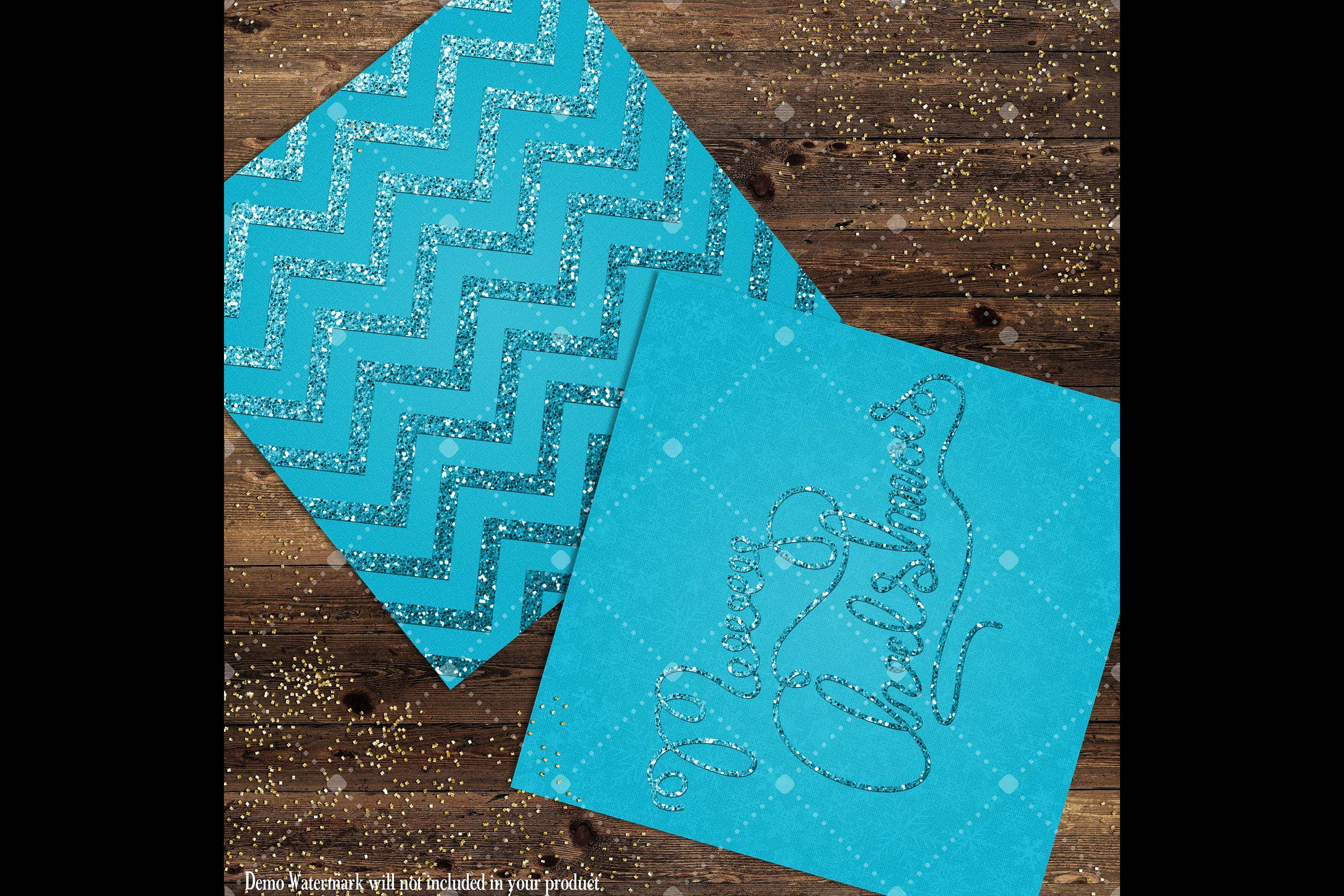 16 Blue Glitter Christmas Printable Digital Papers 12 inch example image 9