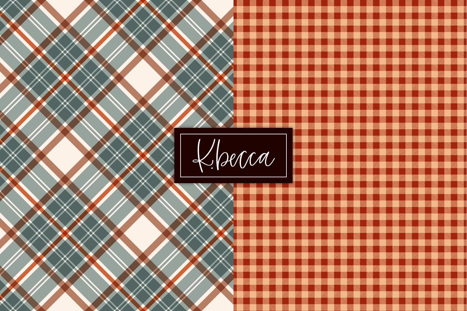 Autumn Fall Plaid Background Patterns Seamless example image 3