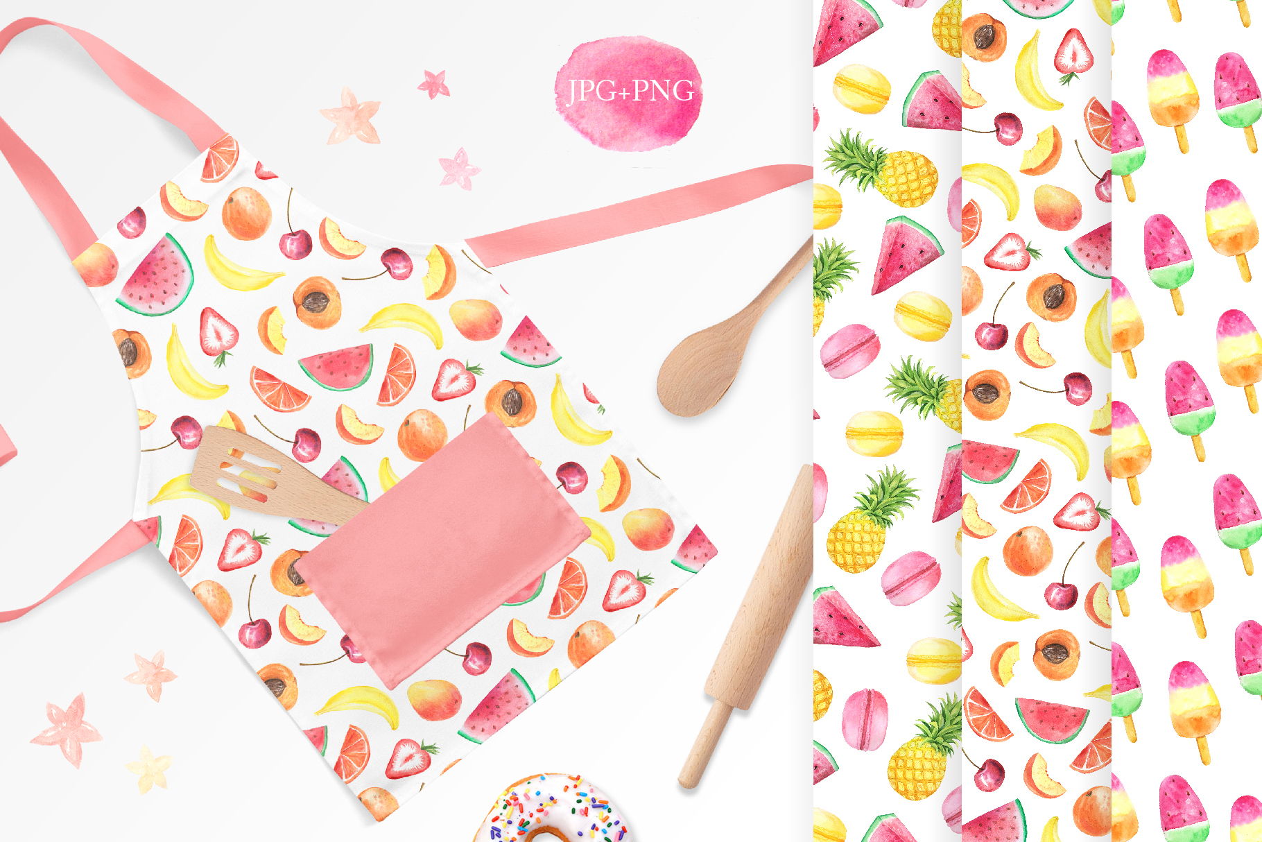15 Watercolor Sweet Seamless Pattern example image 4