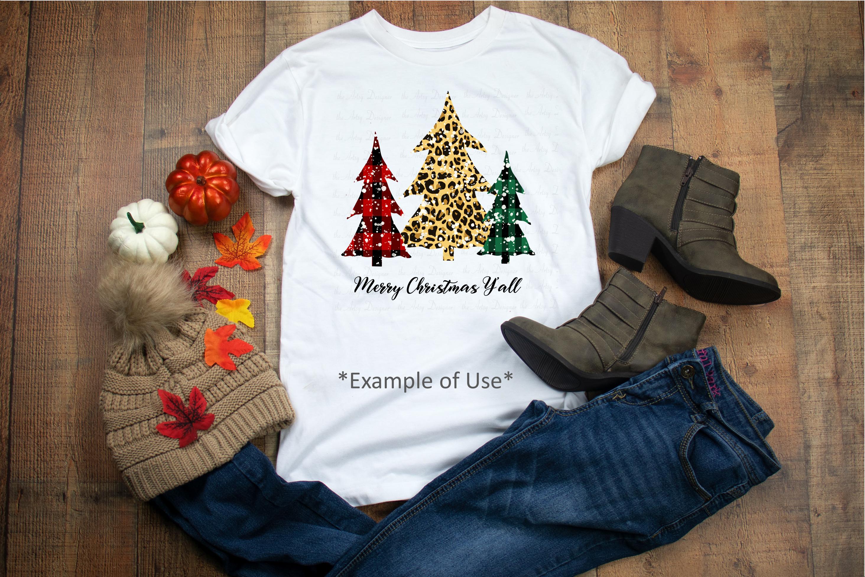 Buffalo Plaid Leopard Christmas Trees Sublimation Bundle example image 2