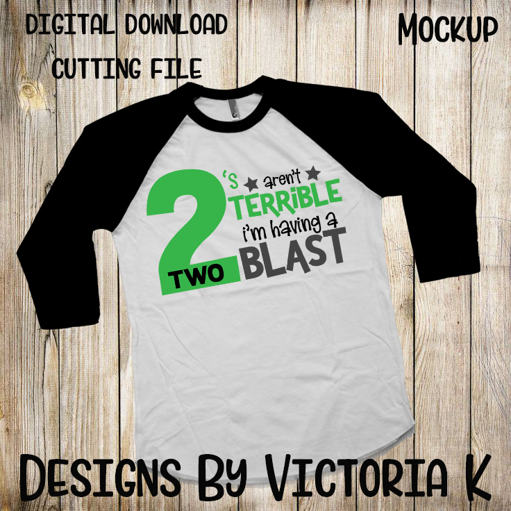 Twos arent terrible, 2nd Birthday, SVG, DXF, PNG example image 2