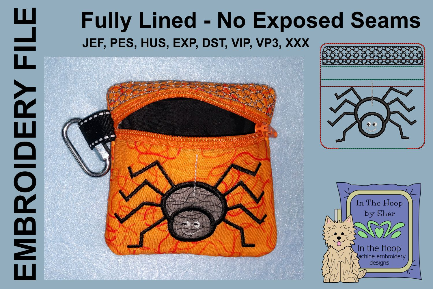 Spider Mini Zipper Bag / Fully Lined, 4X4 HOOP example image 2