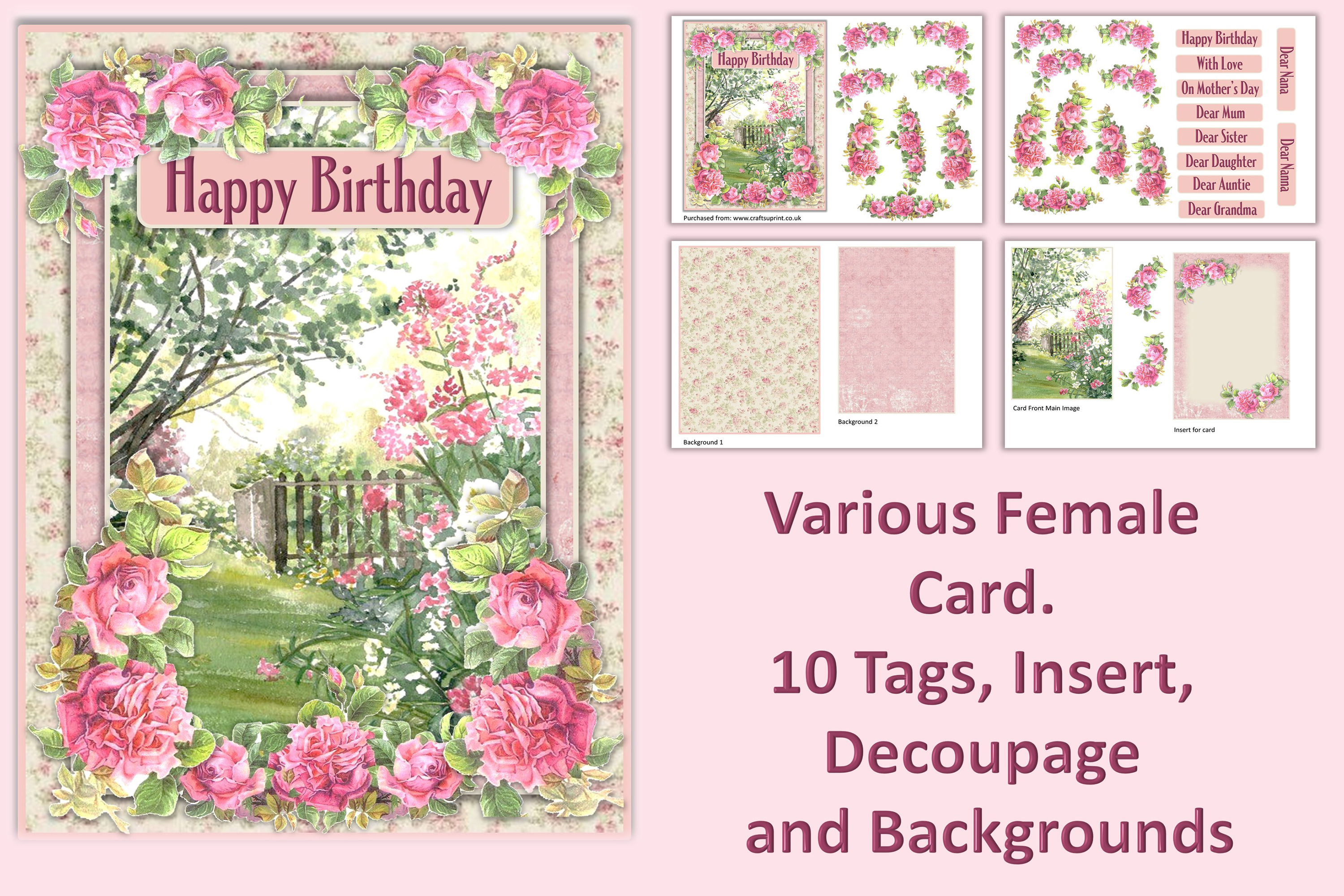 Card Making Kit Set of 4 Watercolour Garden JPEG, PDF & PNG example image 5