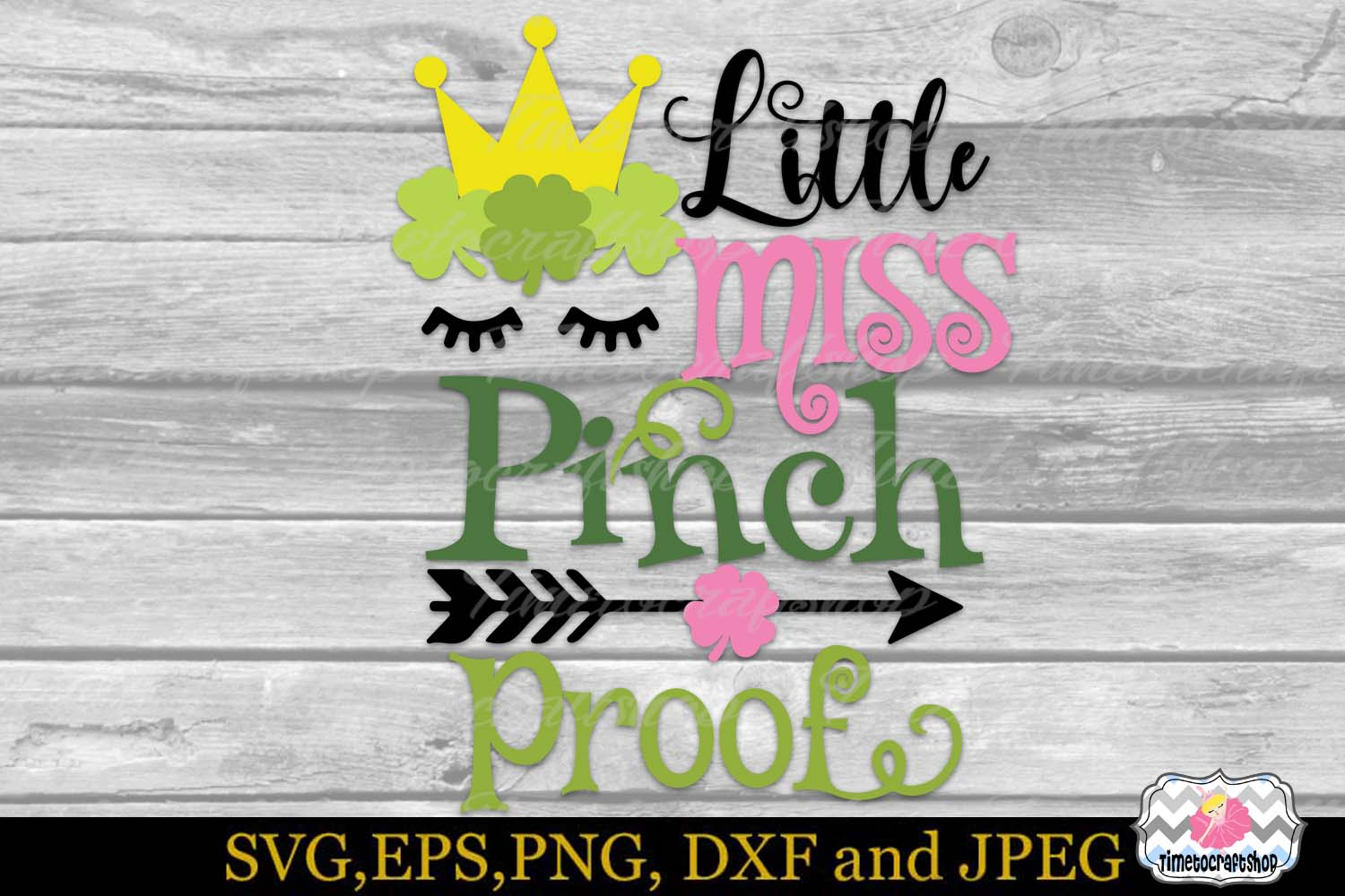 SVG, DXF, PNG St Patrick's Day Little Miss Pinch Proof example image 2