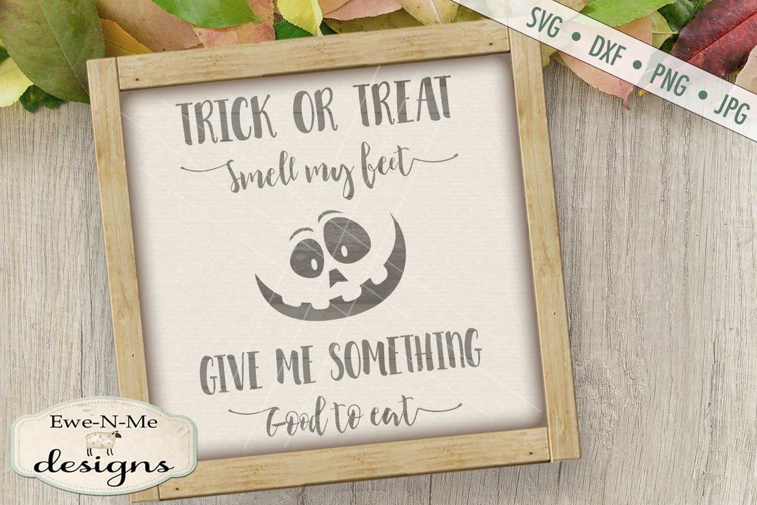 Trick or Treat Pumpkin Face SVG DXF Files example image 1