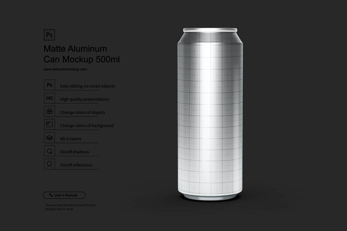 Matte Aluminum Can Mockup 500ml example image 2