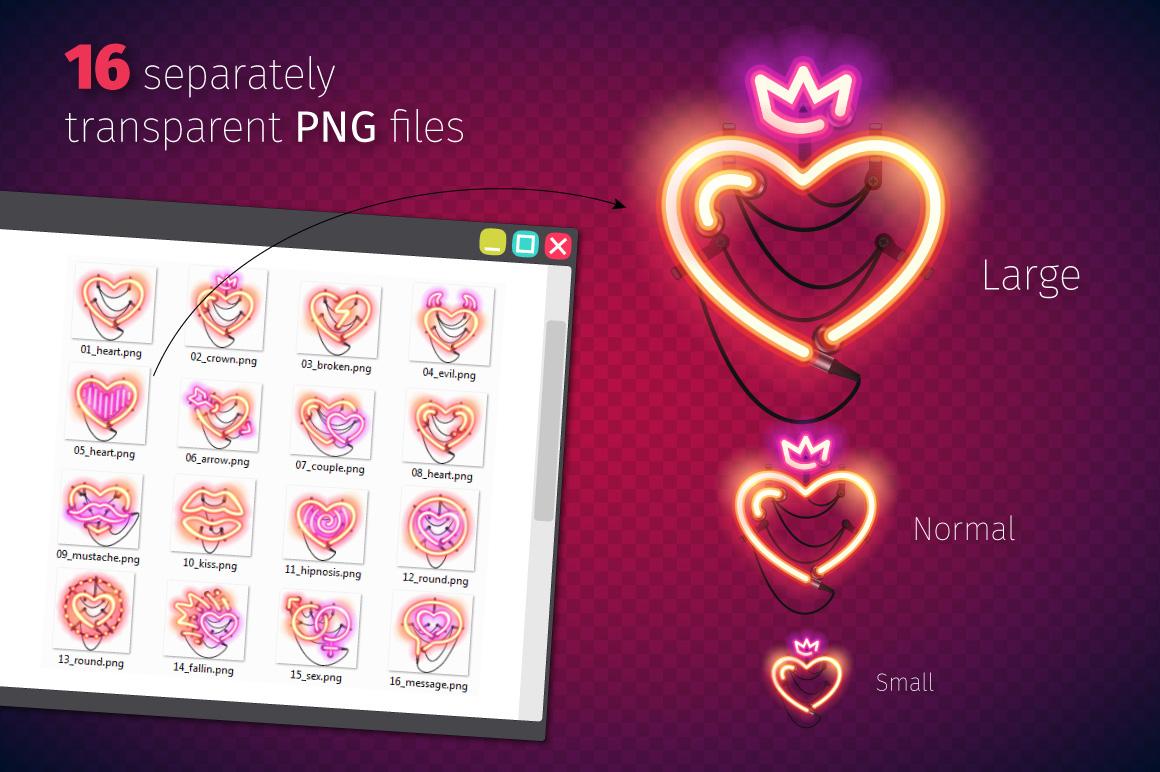 Valentine Neon Hearts example image 3