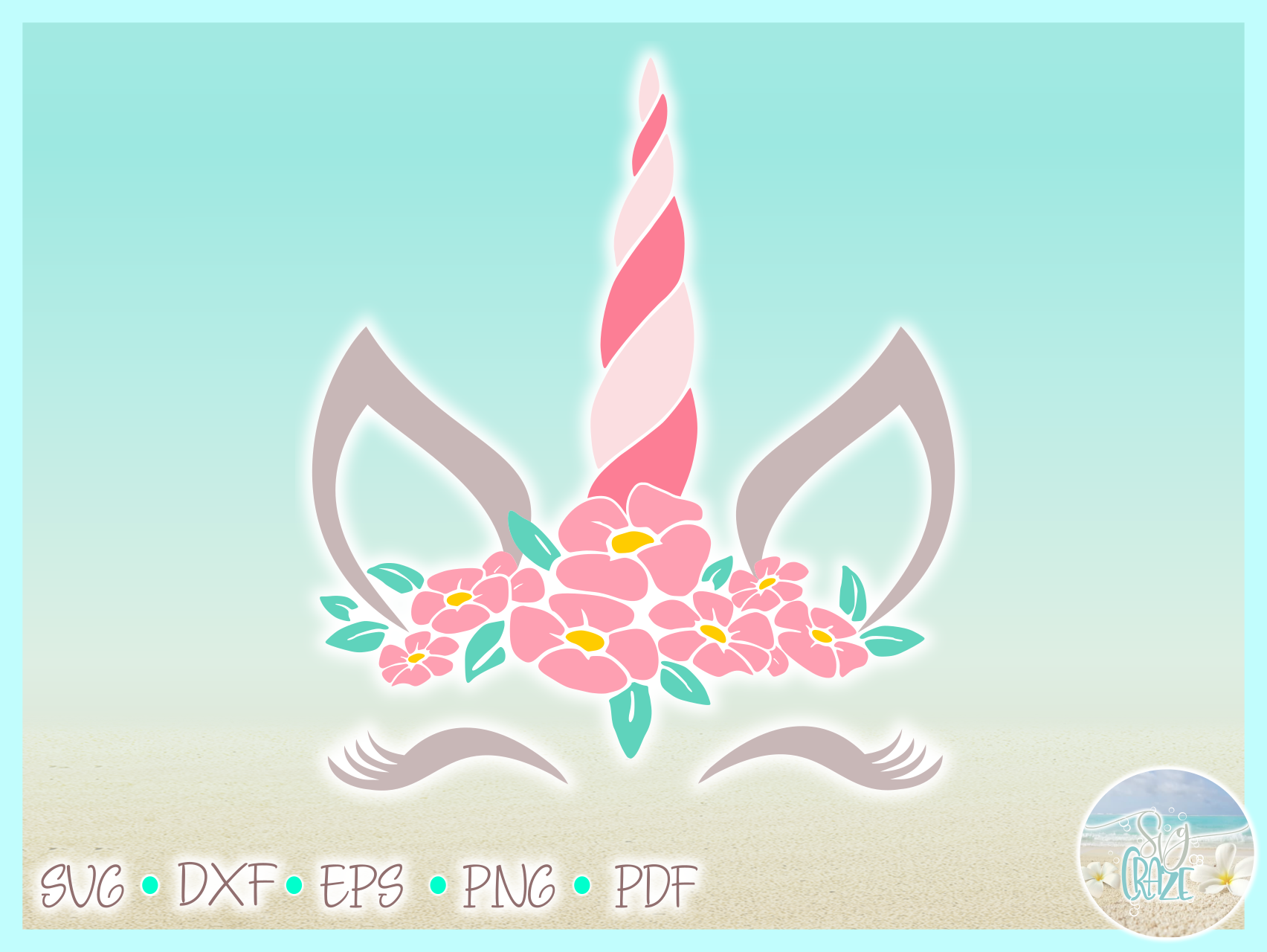Unicorn Face with Flowers	SVG Dxf Eps Png PDF files example image 3