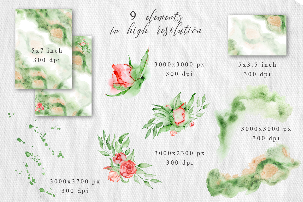Gold Greenery floral Watercolor Wedding Invitation suite example image 5