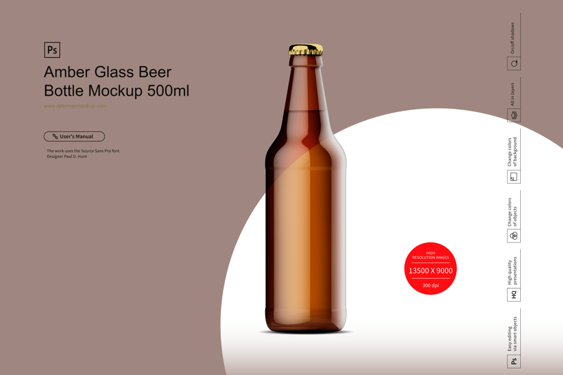 Amber Glass Beer Bottle Mockup 500ml example image 3