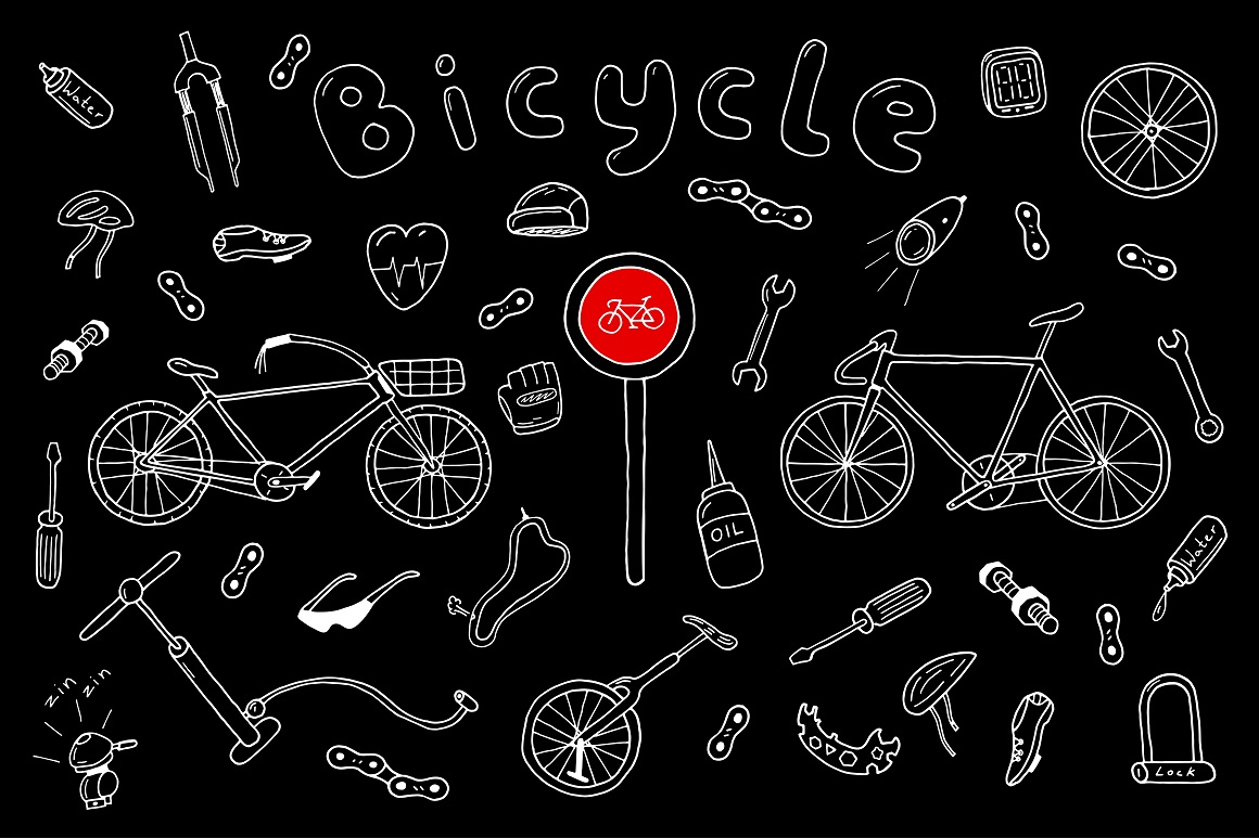 Bicycle collection in doodle style example image 2
