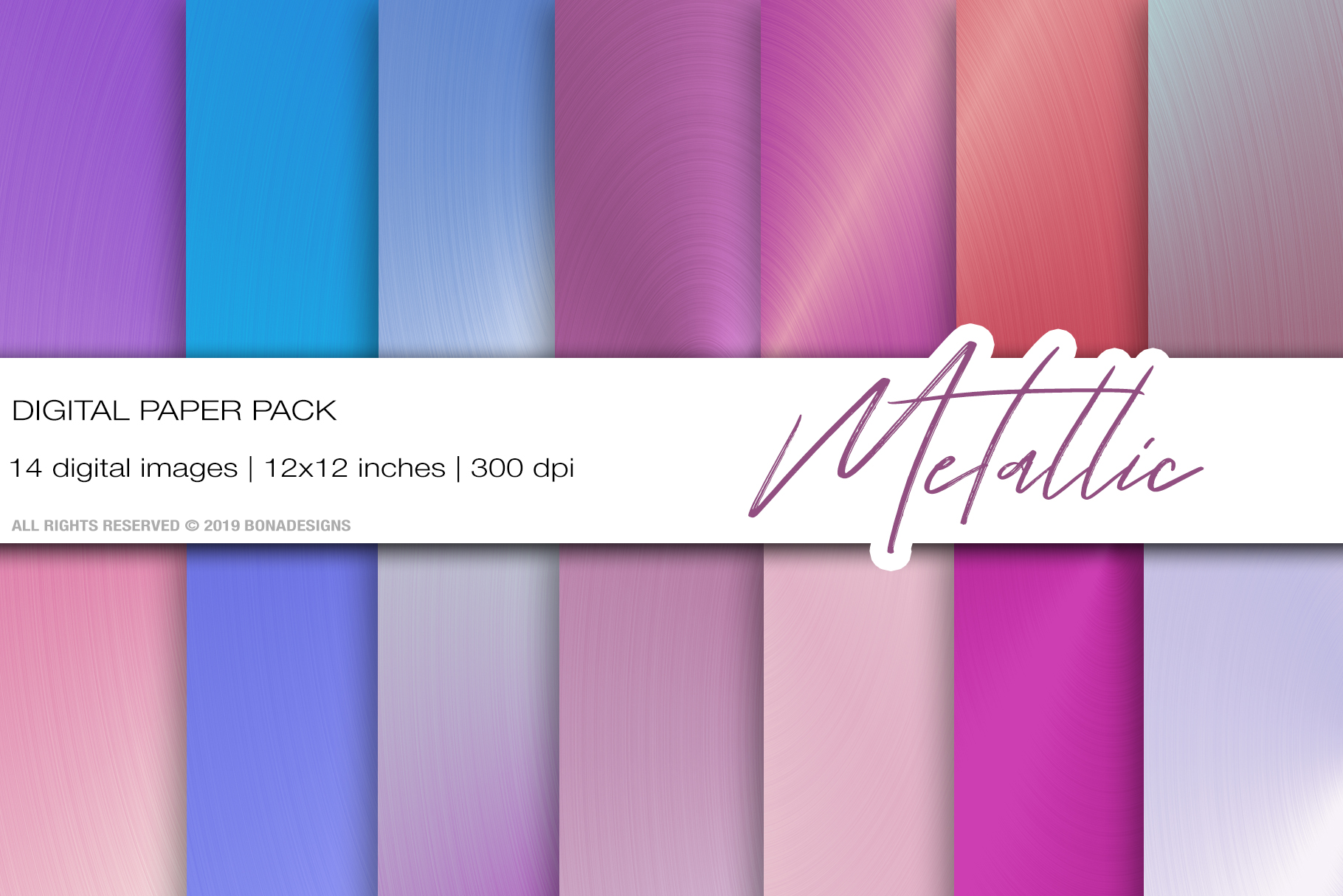 Metallic Digital Papers, Rose Gold background. example image 1