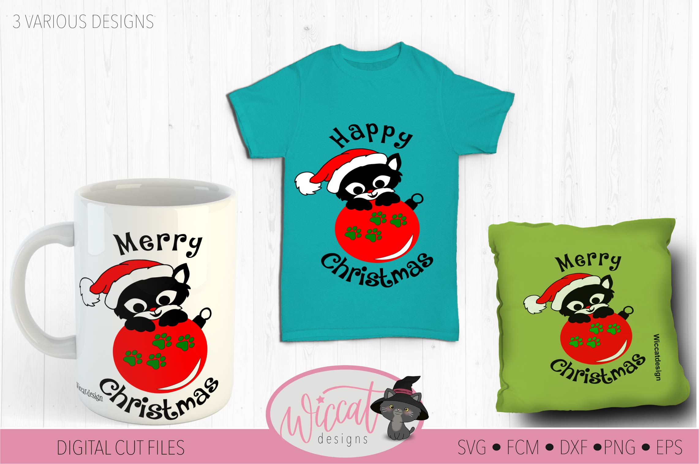 Christmas cat svg, Happy Christmas svg, Cat ornament svg, example image 1
