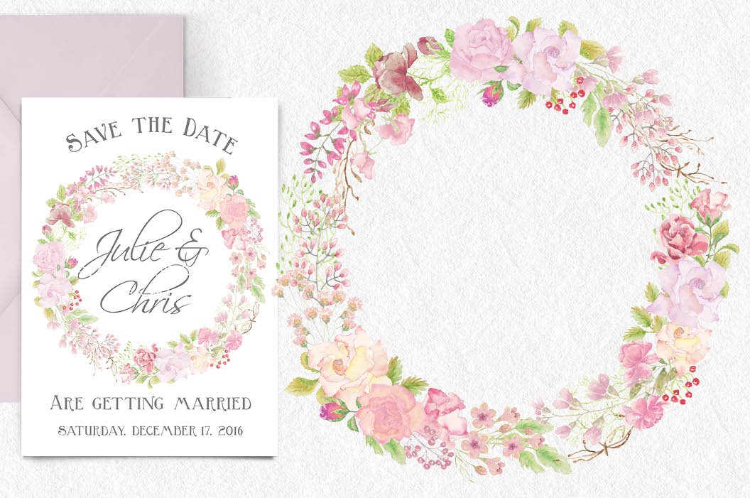 Wreath of pink watercolor roses example image 2