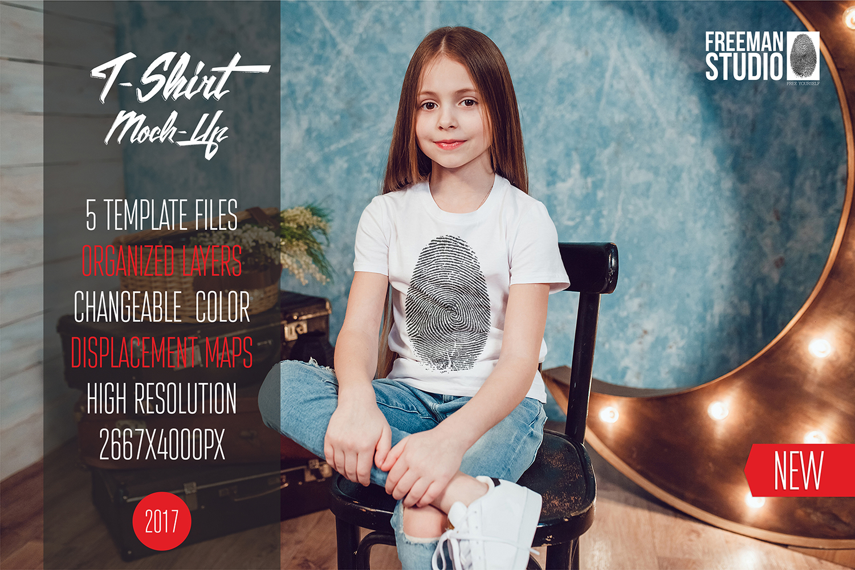 Kids T-Shirt Mock-Up Vol.1 2017 example image 1