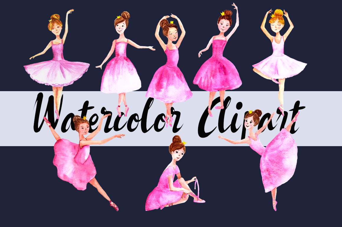 Watercolor Ballerinas Clip Art Set example image 1