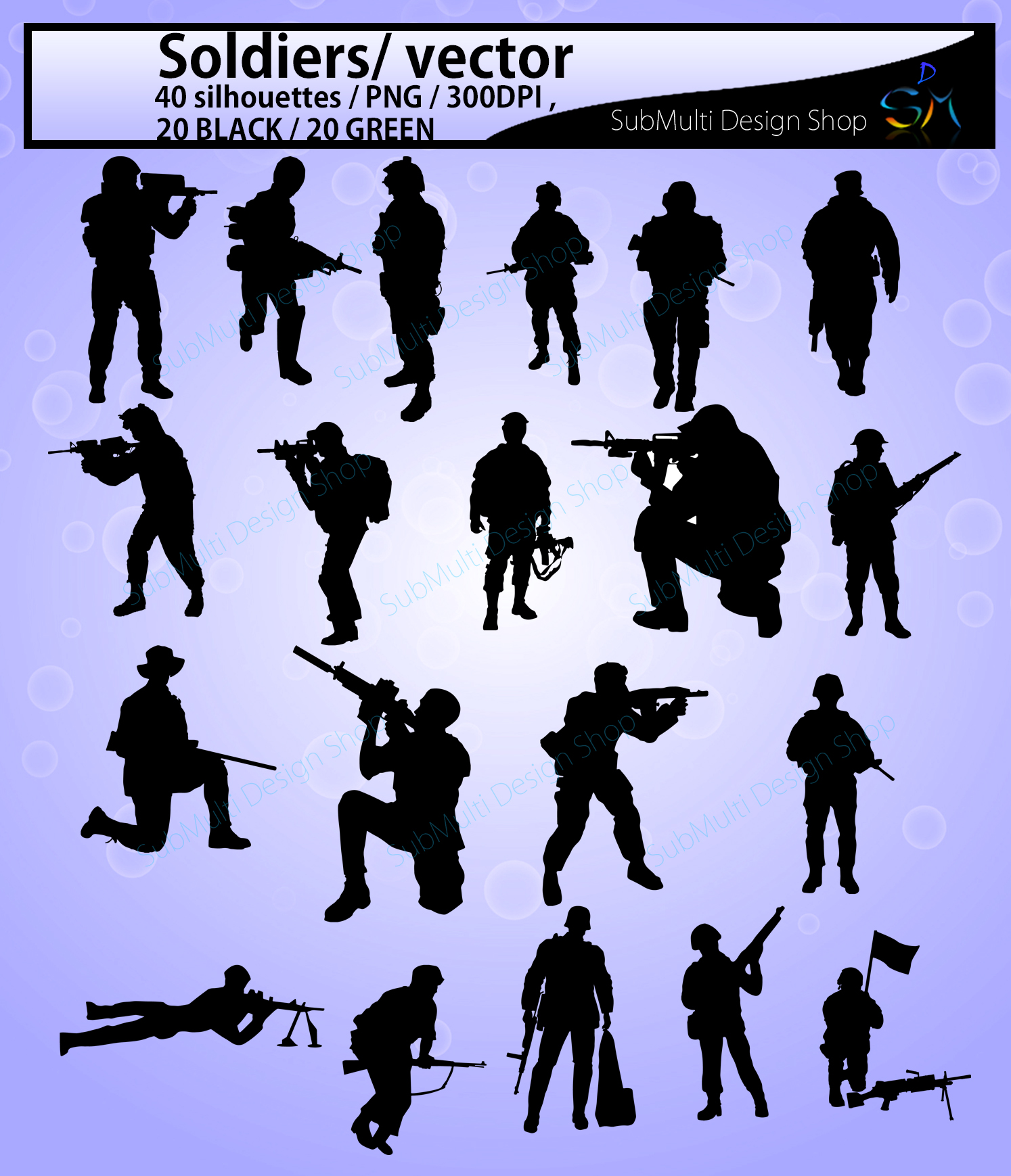 Soldiers svg / Soldiers silhouette / Hight Quality / Soldiers printable digital clipart / black and green / Army/ vector / PNG / SVG / EPS example image 2