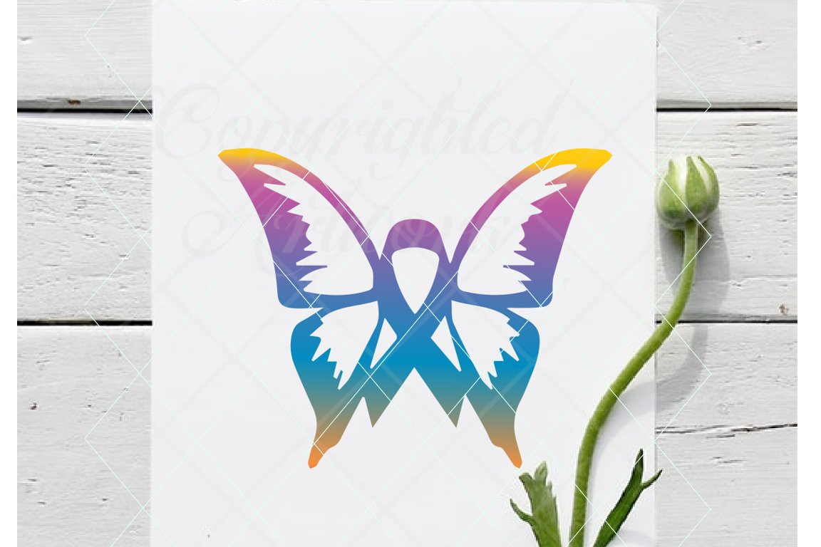 Butterfly ribbon, cancer svg, awareness svg cancer awareness example image 1