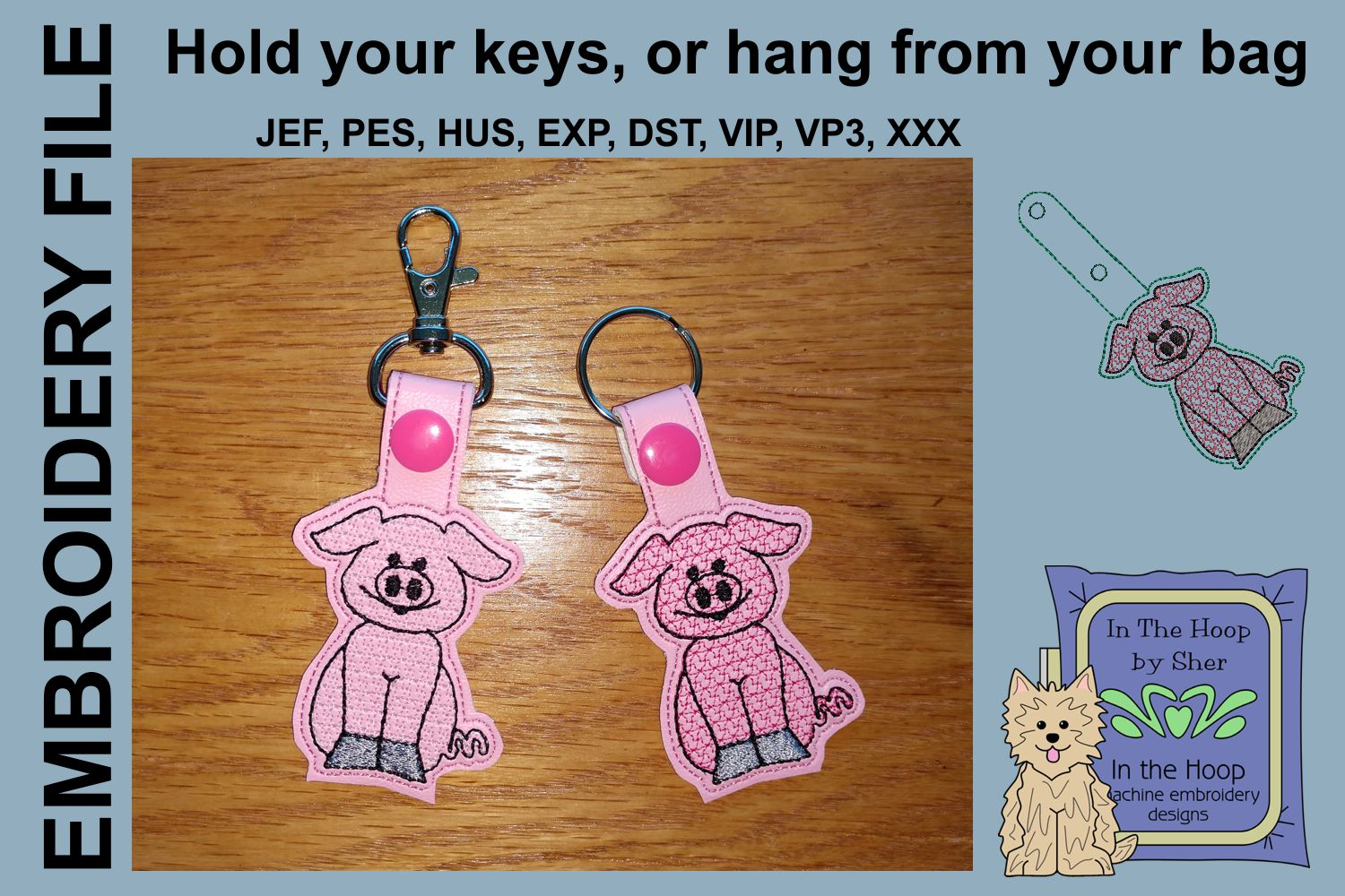 ITH Pig Key Fob - Embroidery Design example image 2