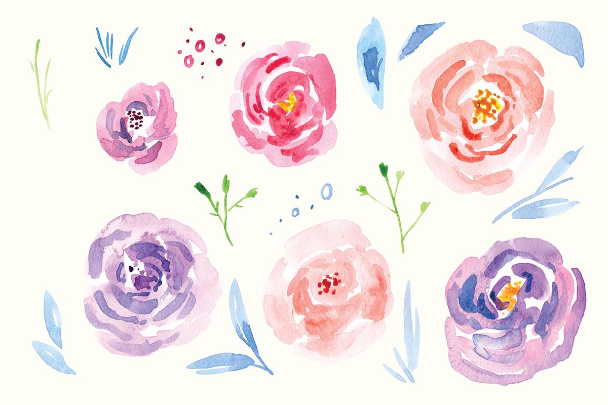 Delicate Flower Watercolor Clip Art example image 4