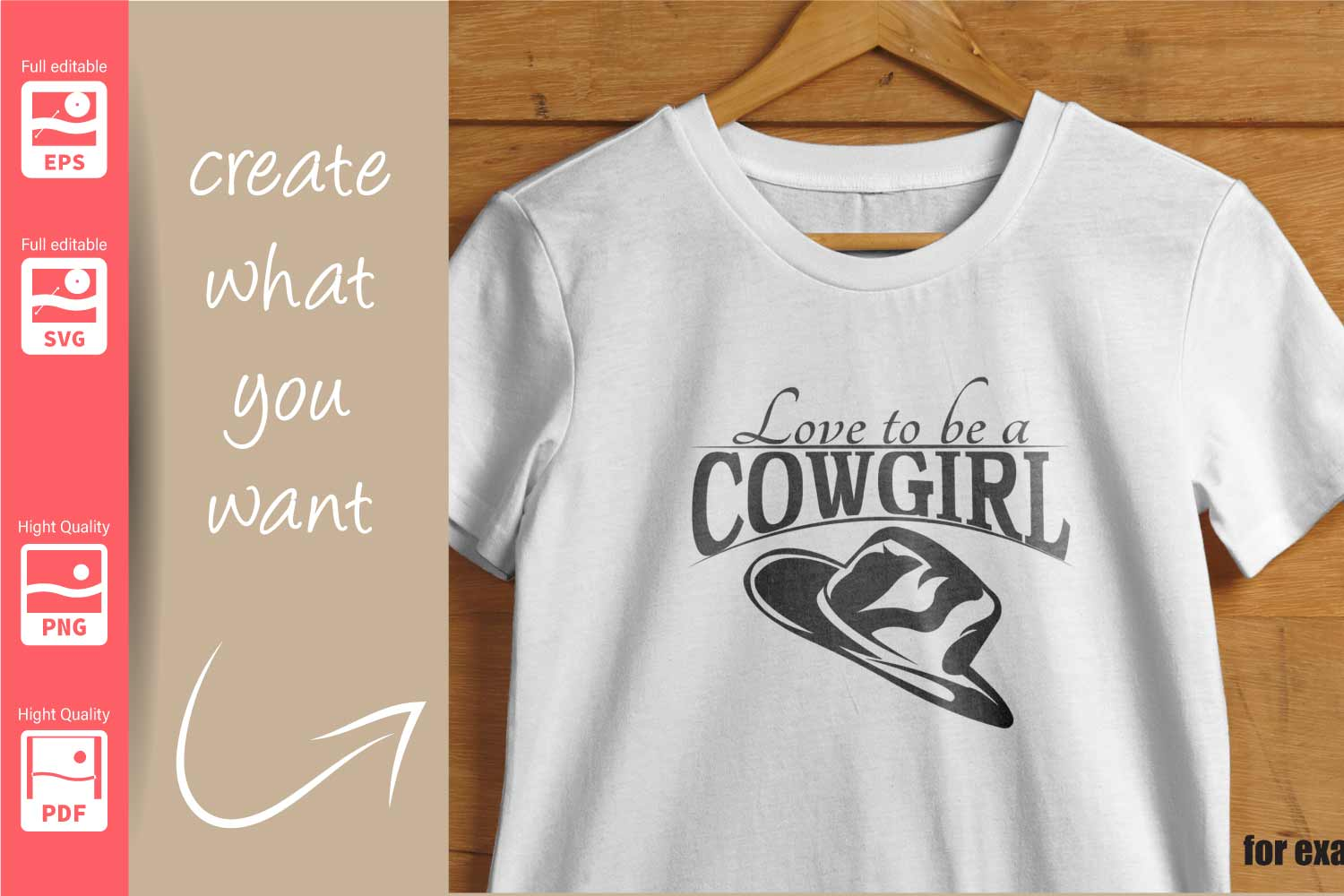 Cowgirl Logo with Hat and Boots - SVG - Set example image 3
