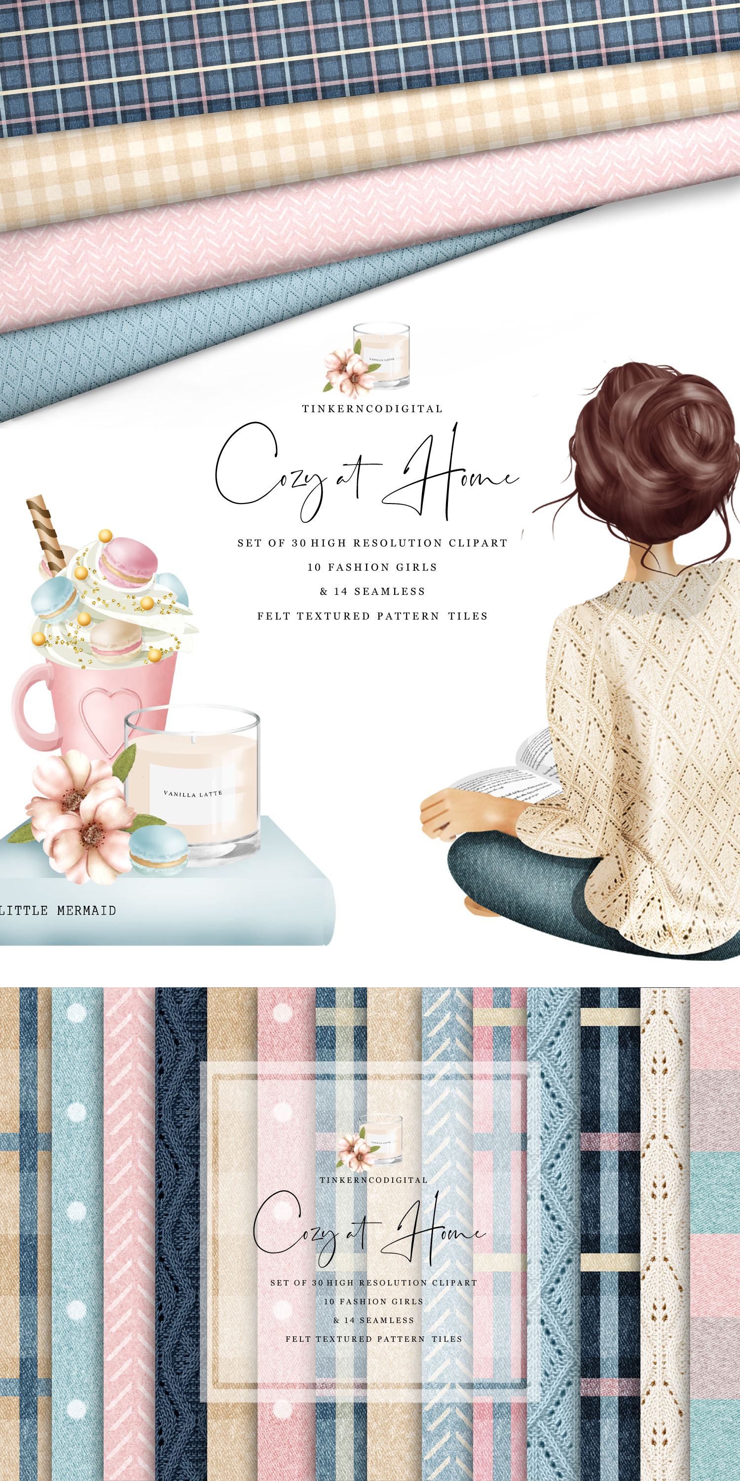 Cozy Winter Clip art for sublimation & Seamless Pattern Tile example image 5