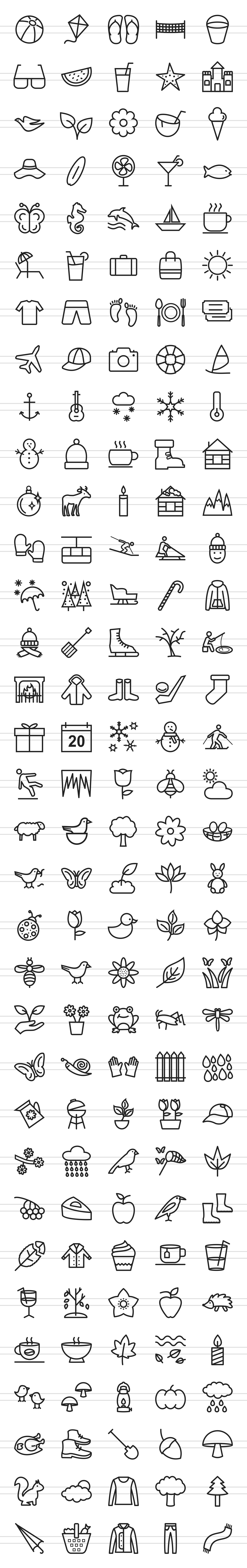 166 Four Seasons Line Icons example image 2