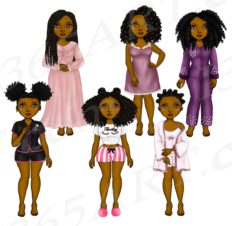 Pajama Girls Slumber Party Black Girls Natural Hair Clipart example image 3