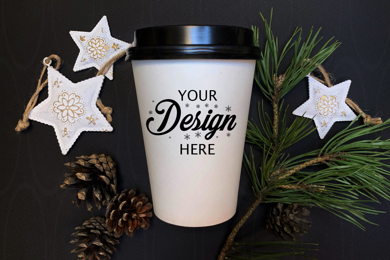 Winter Styled Photography White coffee glass mock up stars example image 1