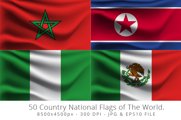 Realistic waving 50 Country National Flags of The World. example image 8