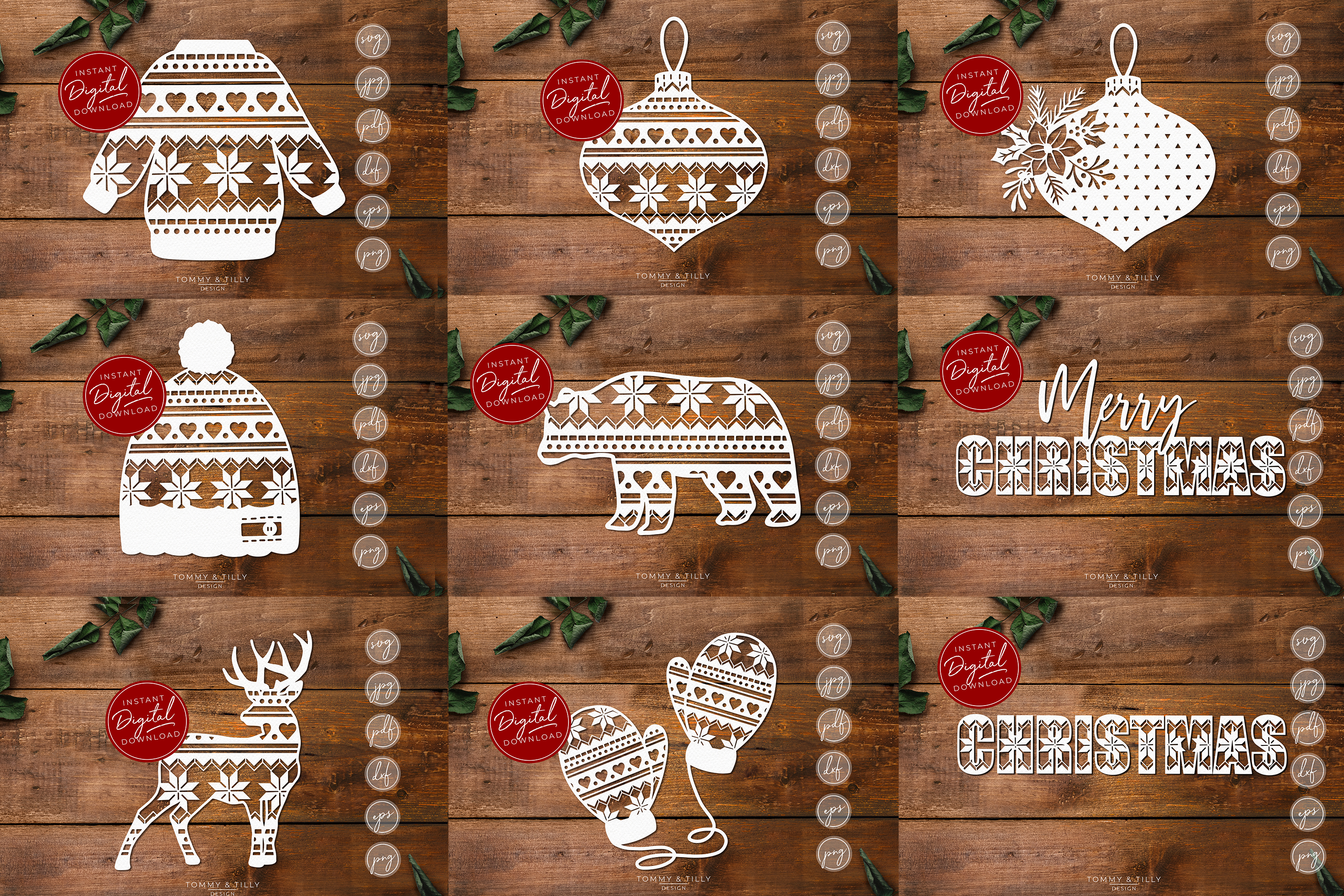 MEGA BUNDLE! 60 Christmas Cut Files - SVG | Papercut example image 3