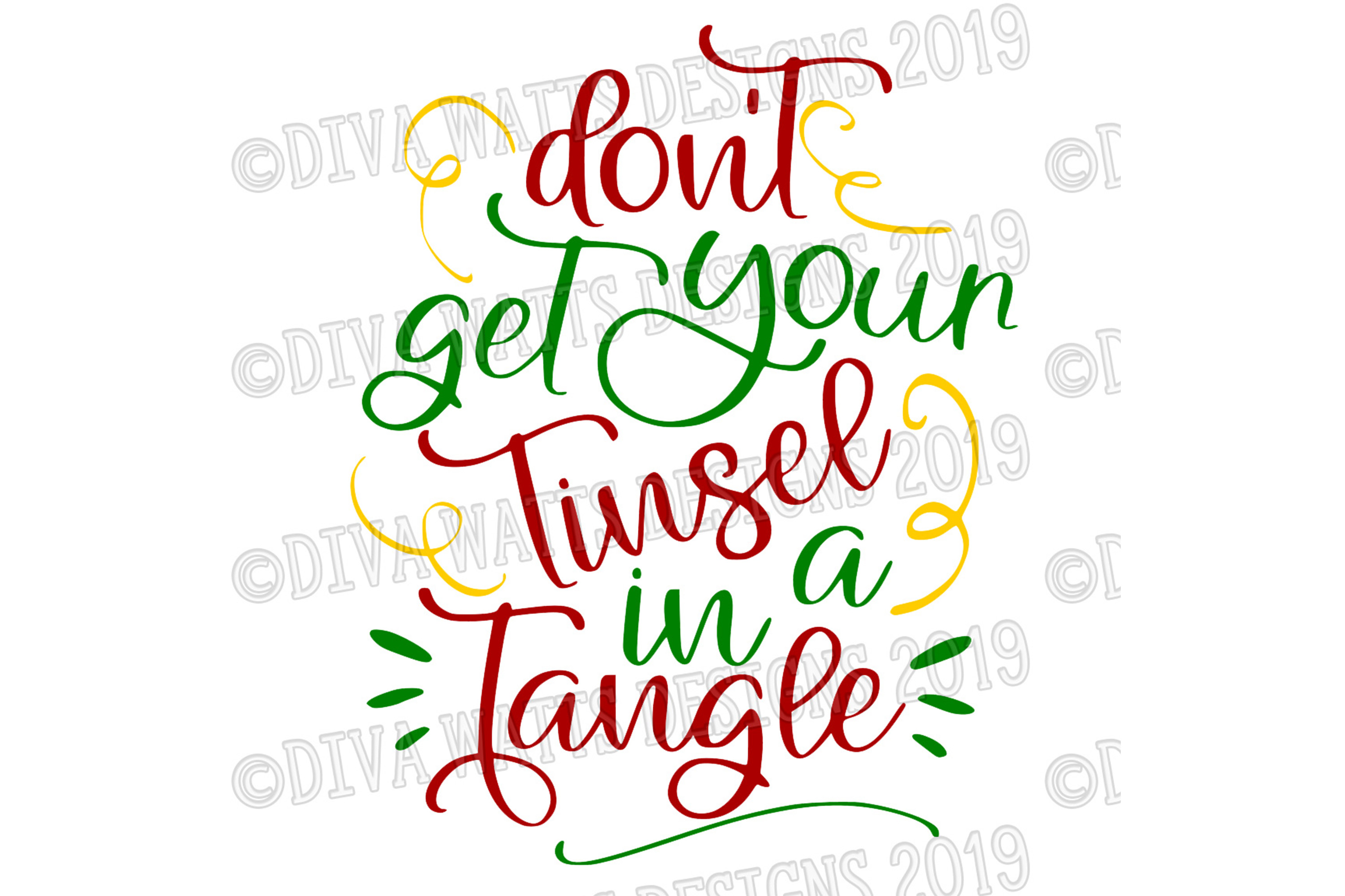 Don't Get Your Tinsel In A Tangle Christmas Cutting File example image 3