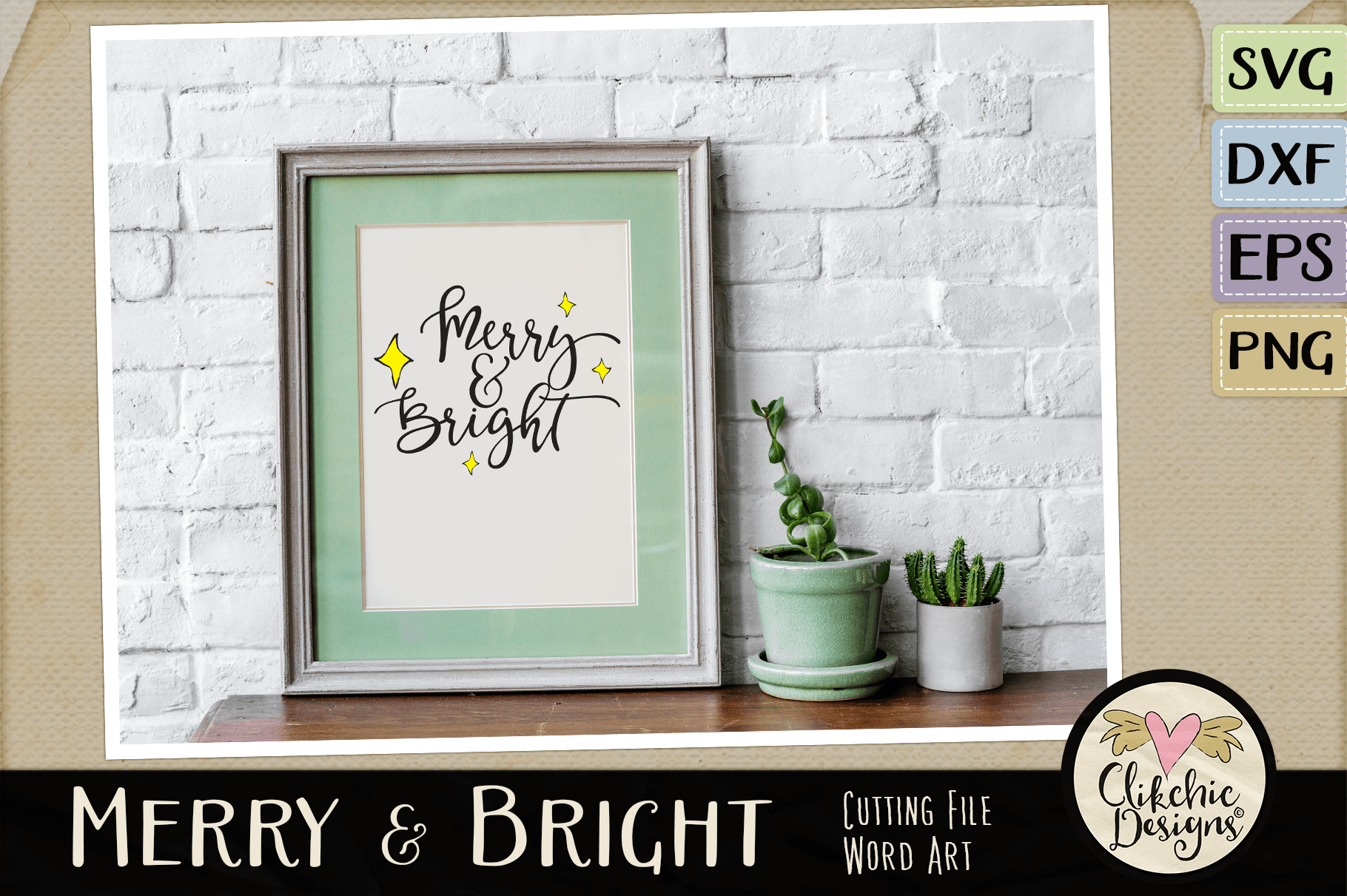 Christmas SVG - Merry & Bright Cutting file Clipart Word Art example image 3