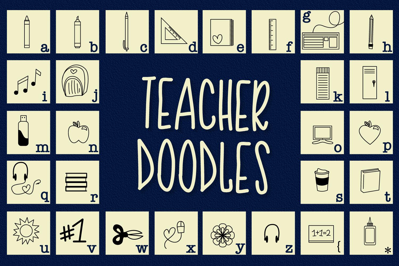 Teacher Doodles - A Dingbat Back To School Font  example image 7