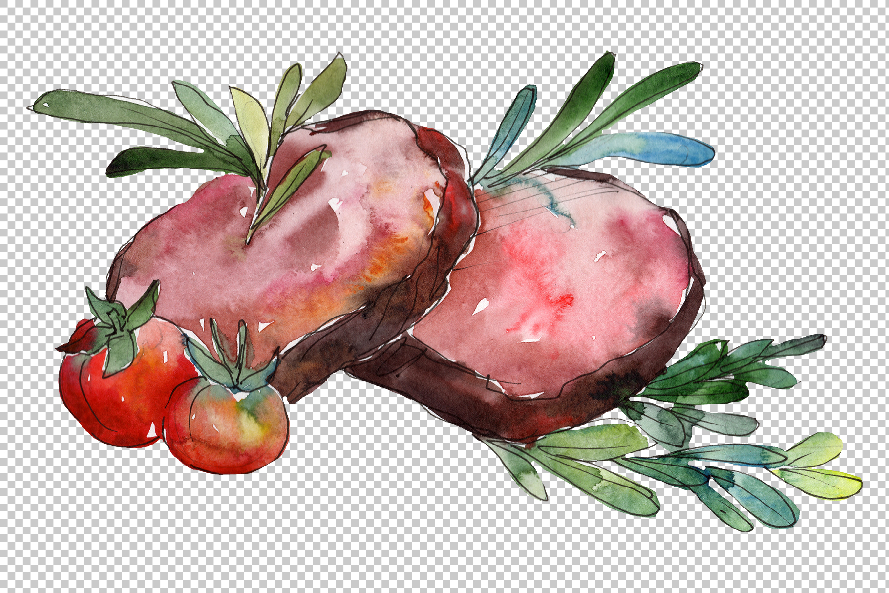 Meat steaks PNG watercolor set example image 4