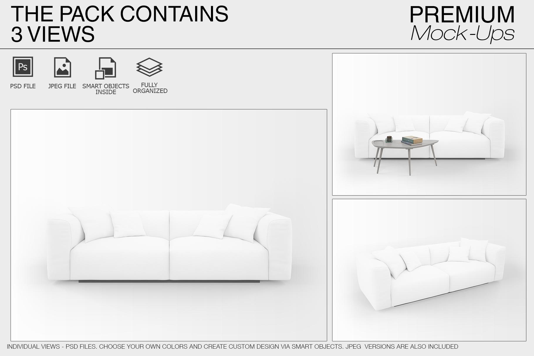 Sofa & Pillows Mockup Pack example image 4