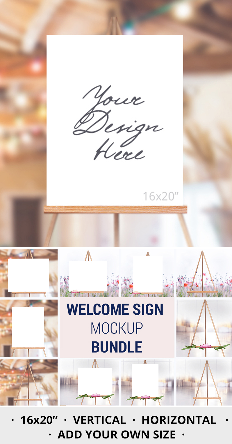 Easel Mockup BUNDLE, Welcome sign, Wedding Sign Mockup, 996 example image 3